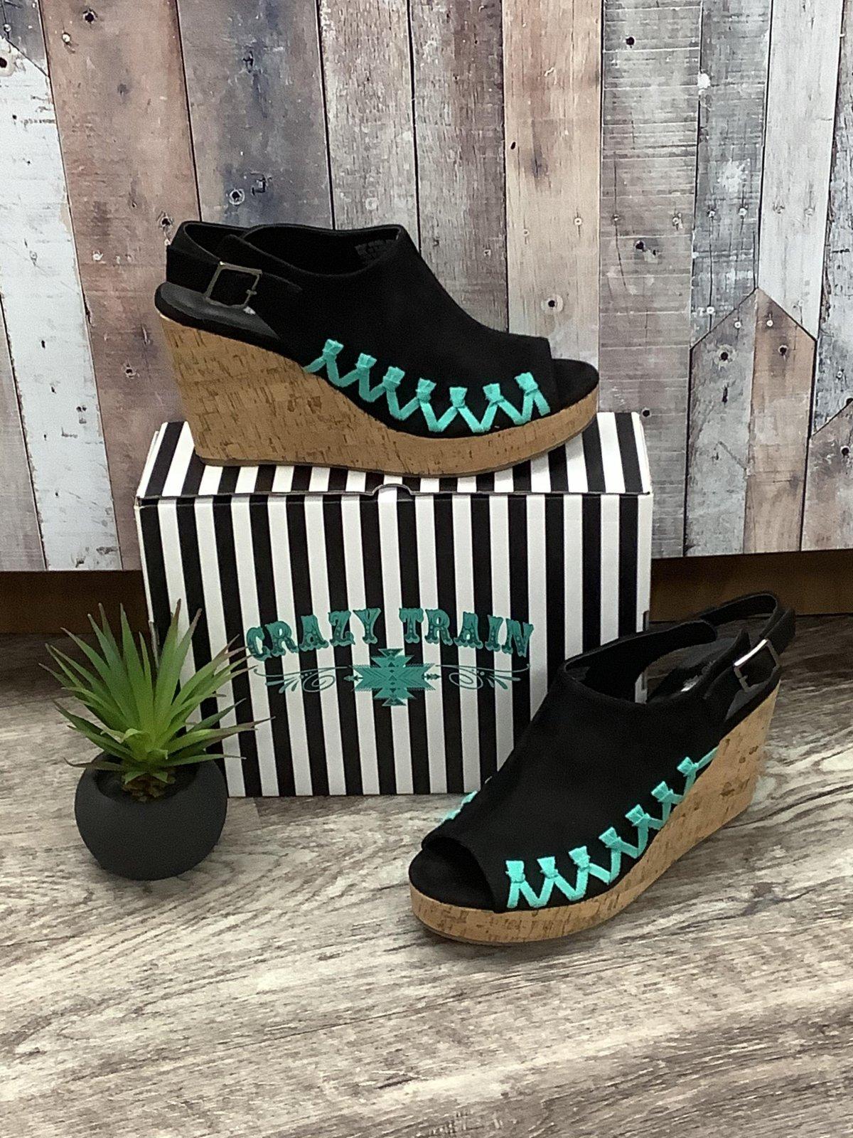 Black & Turquoise Whip Wedge Sandal