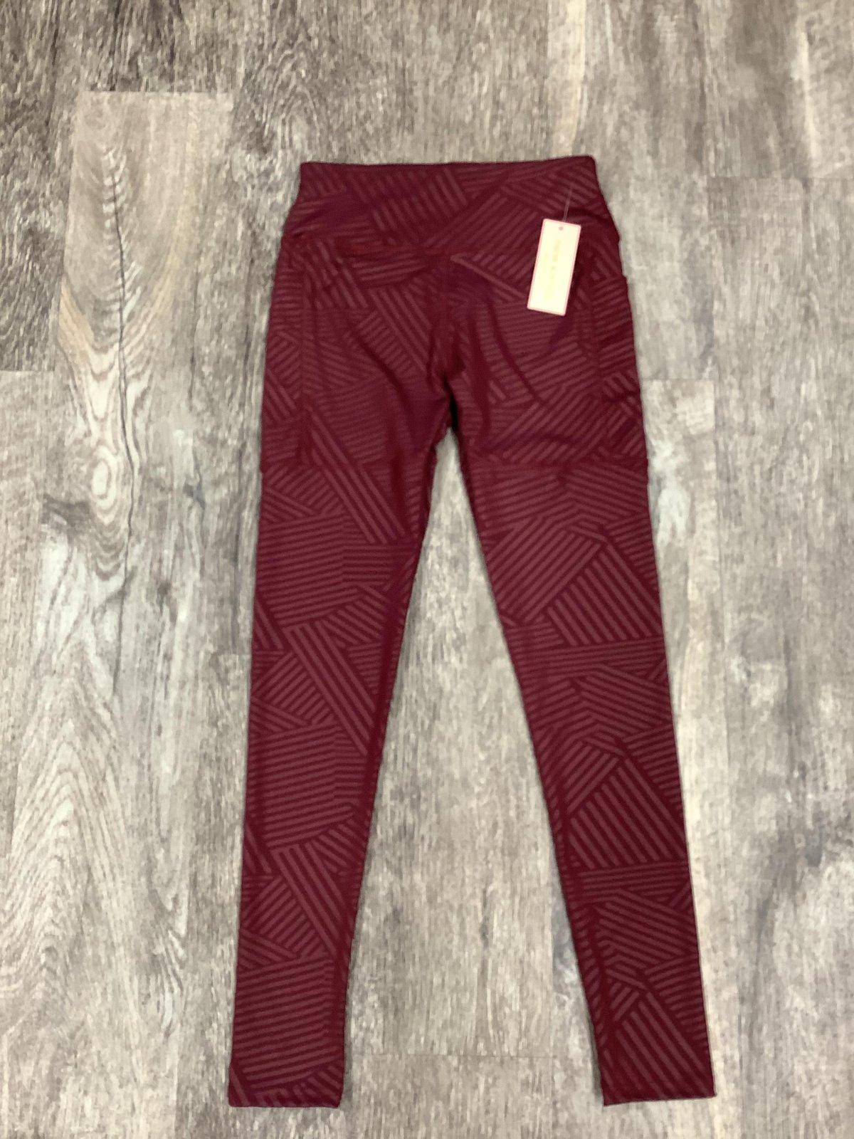 Burgundy Side Pocket Striped Athletic Legging