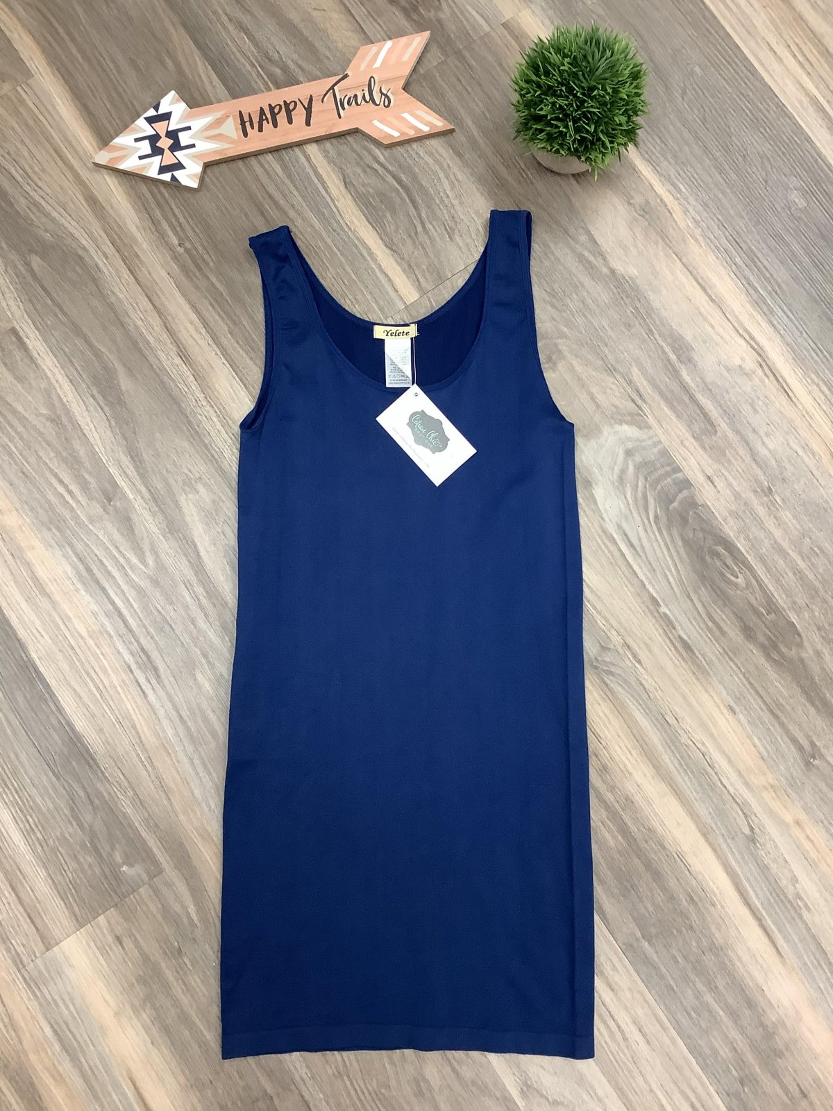 Navy Blue Long Fitted Tank