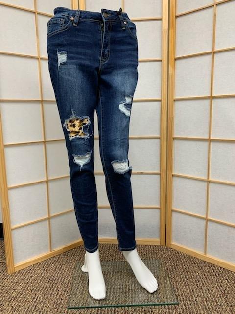 Dark Wash Cheetah Distressed High Rise Skinny Jean