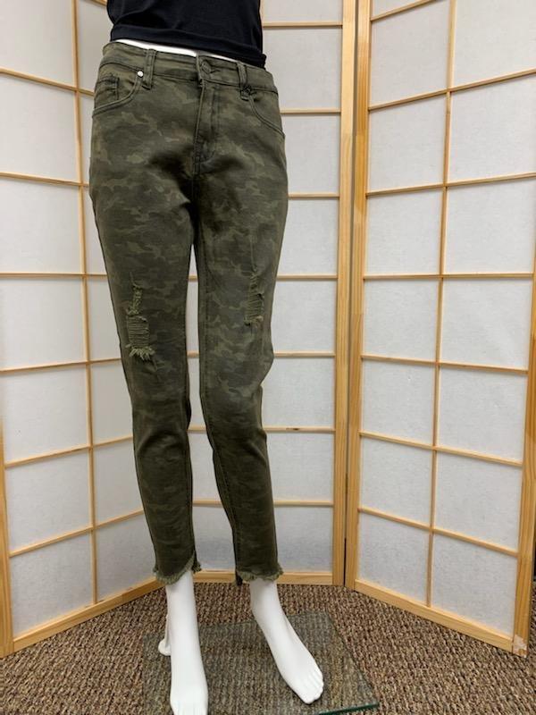 Distressed Camo Skinny Jean