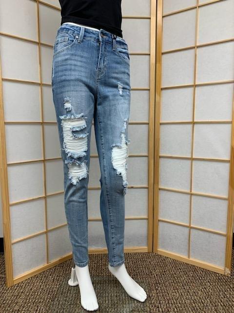 Light Blue High Rise Distressed Skinny Jean