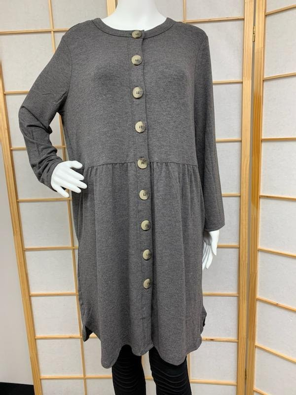 Charcoal Button Tunic *Curvy Approved*