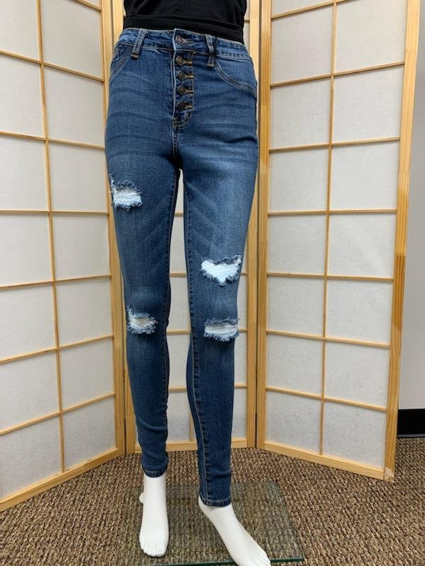High Rise Button Fly Skinny Jean