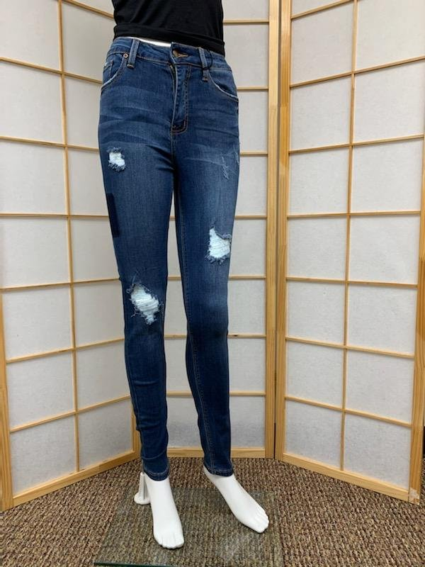 High Rise Patched Distressed Skinny Jean
