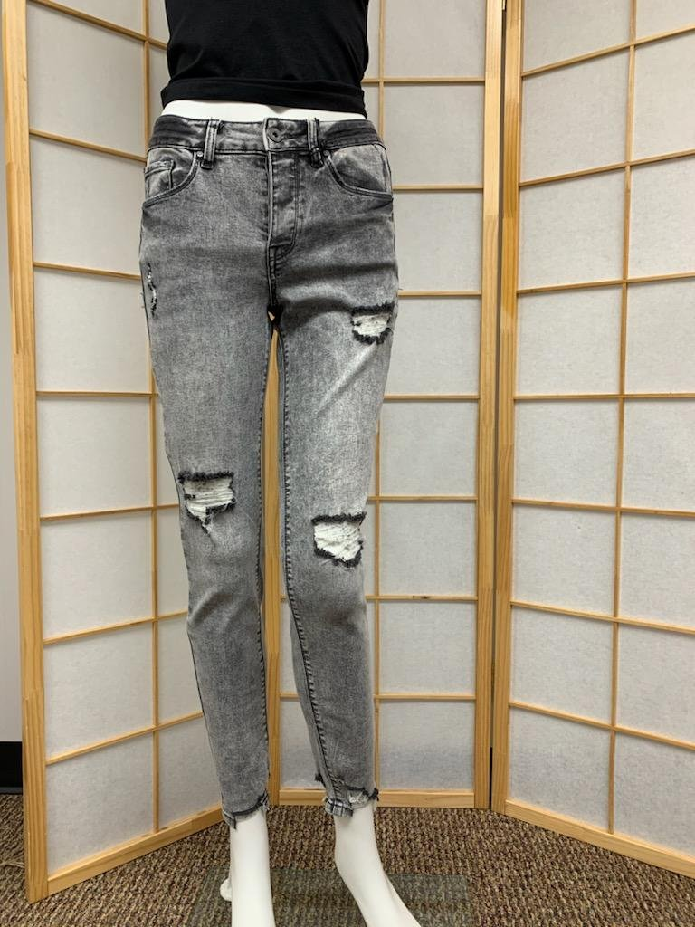80's Retro Distressed Button Fly Skinny Jean