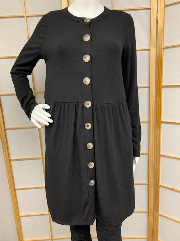 Black Button Tunic *Curvy Approved*