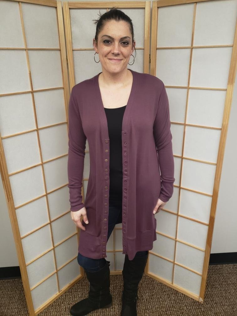Eggplant Long Snap Button Cardigan *Curvy Approved*
