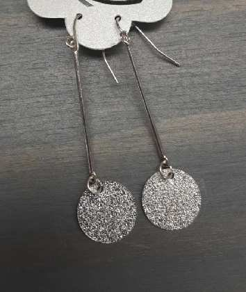 Silver Long with Circle Dangling Earring