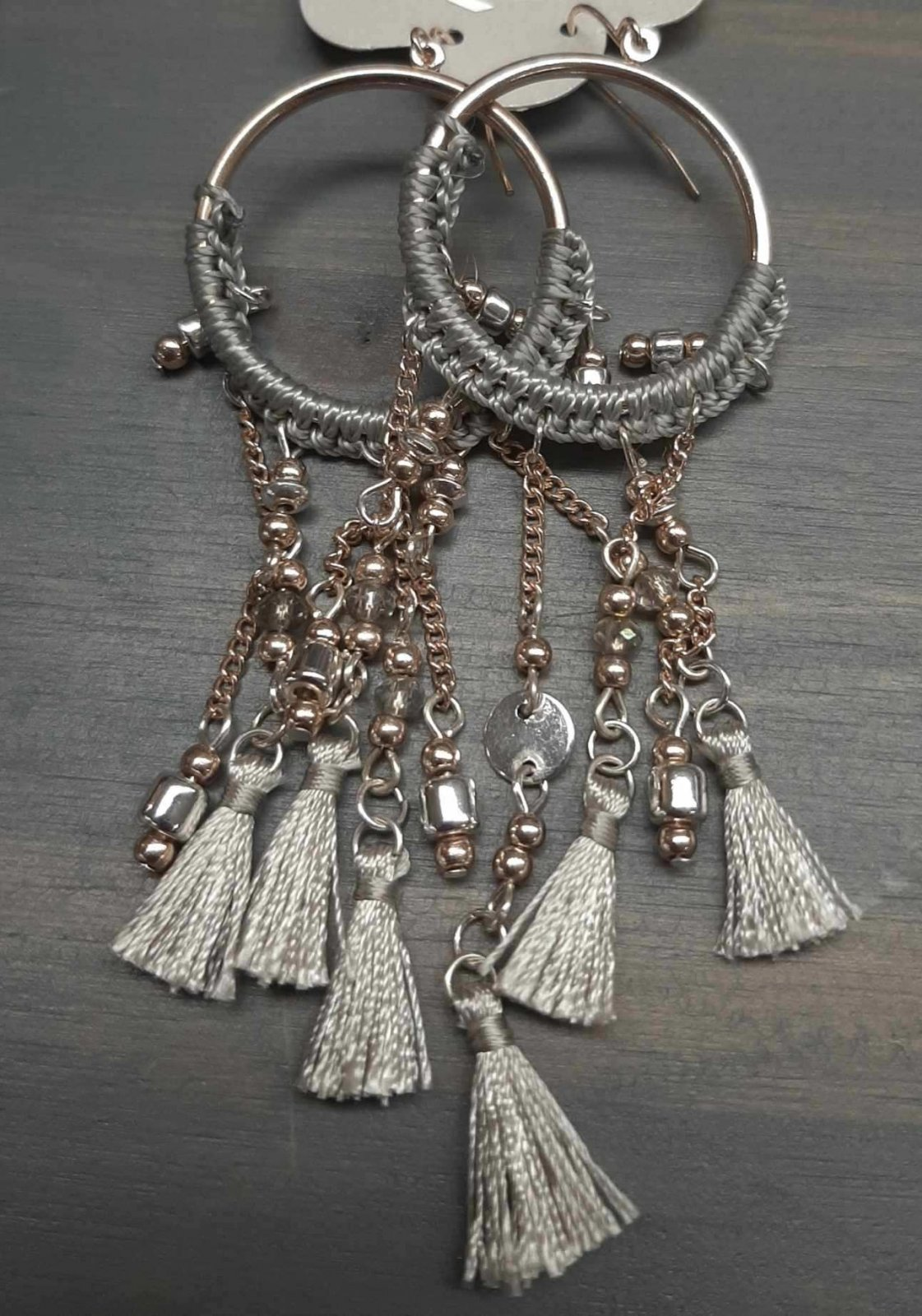 Rose Gold & Gray Dangling Earring