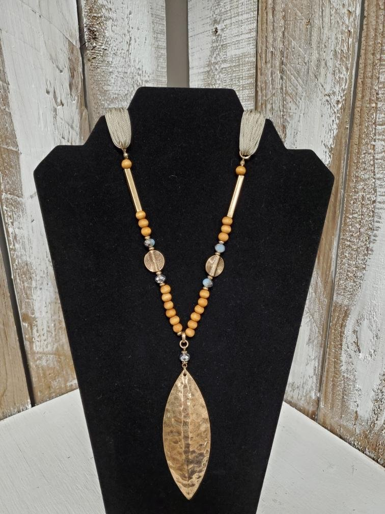 Jade with Wood Beads & Gold Pendent Necklace