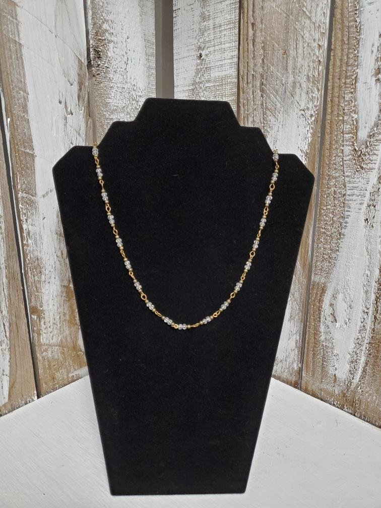 Thin Gold Chain with Clear Rhinestones Accent Necklace