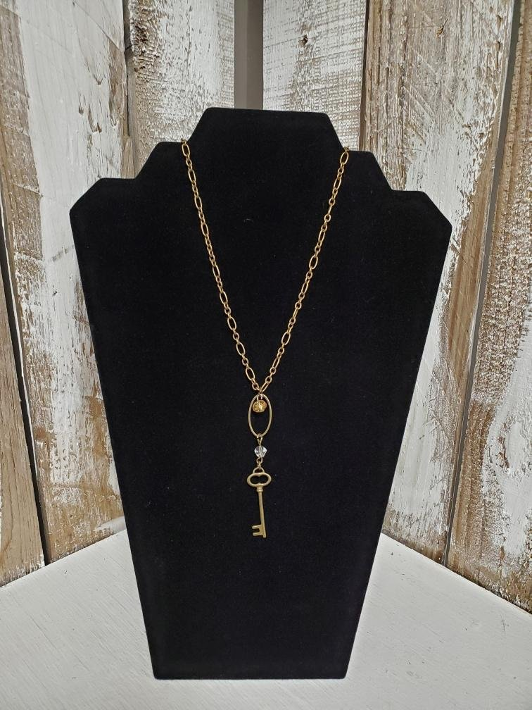 Gold Chain with Key Necklace