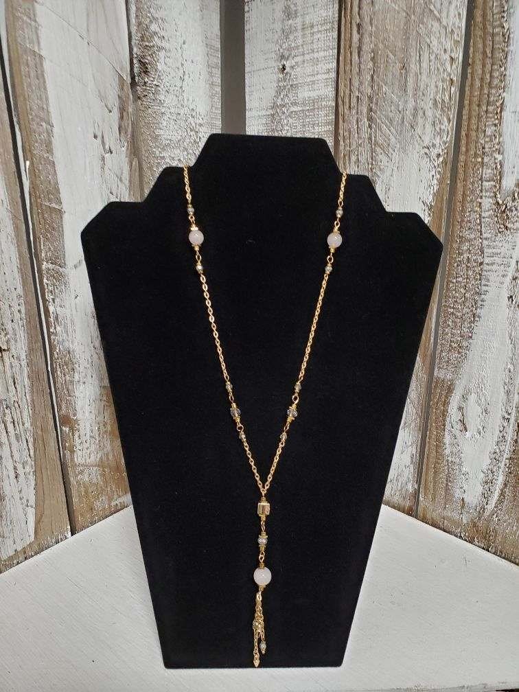 Gold Chain with Pink & Gray Beads Necklace