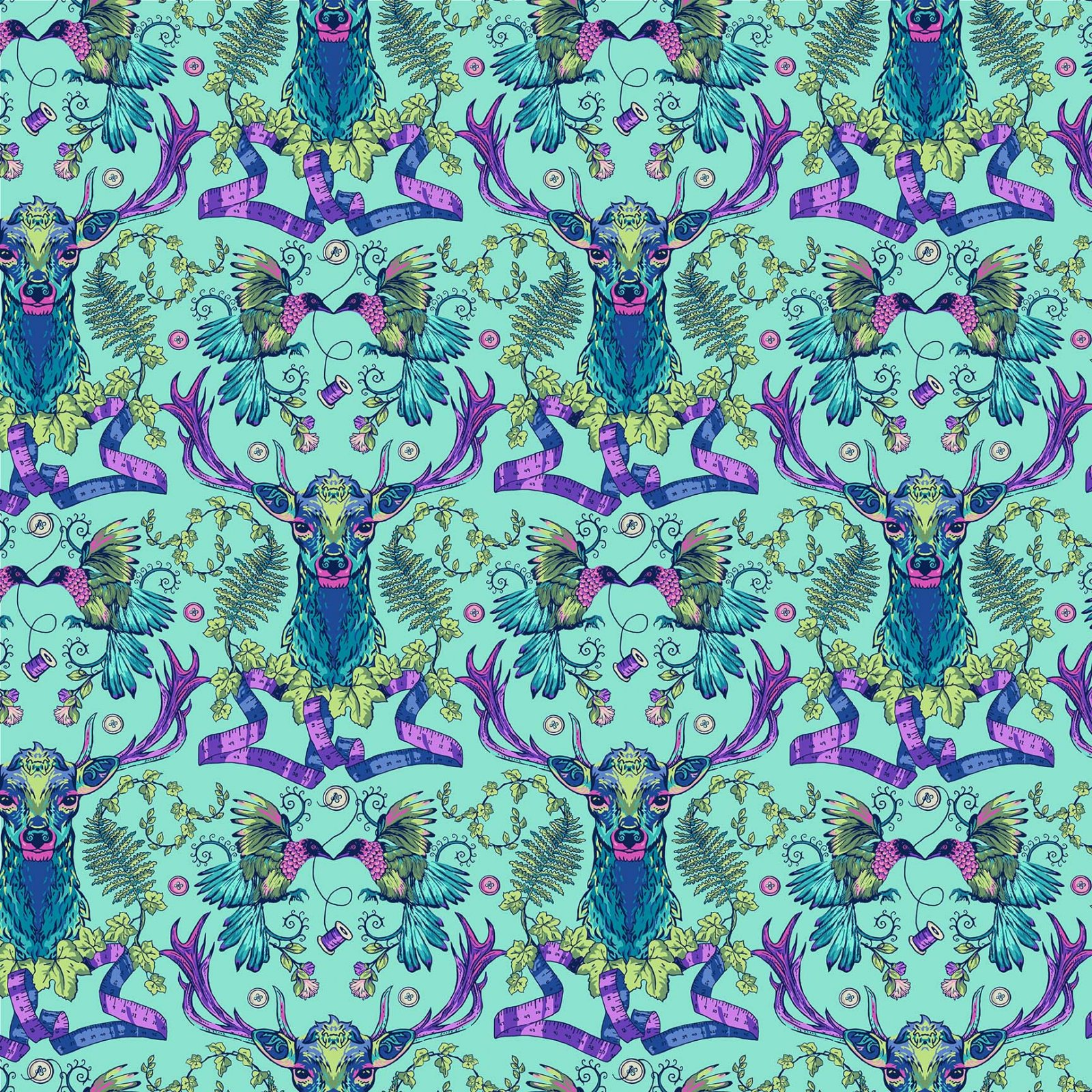 STAG AND THISTLE TURQUOISE MULTI 23304-64