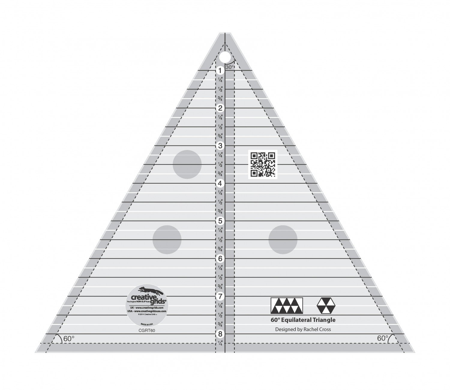 Creative Grids 60 Degree Triangle 8-1/2in Quilt Ruler