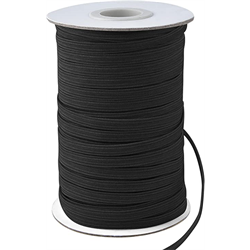1/4 Black Elastic - 10 meter increments
