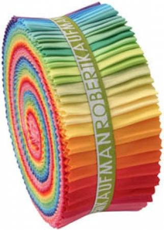 2-1/2in Strips Roll Up Kona Cotton Solids Bright Palette 41pcs