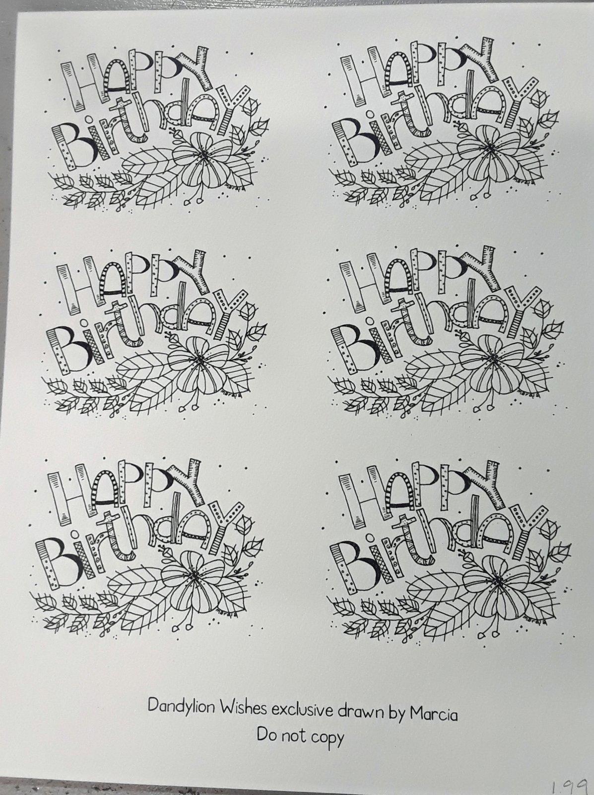 Dandylion Wishes Exclusive 3x4 Happy Birthday sheet