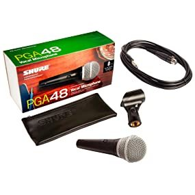 Shure PGA48 Cardioid Dynamic Microphone with XLR to 1/4in. Cable