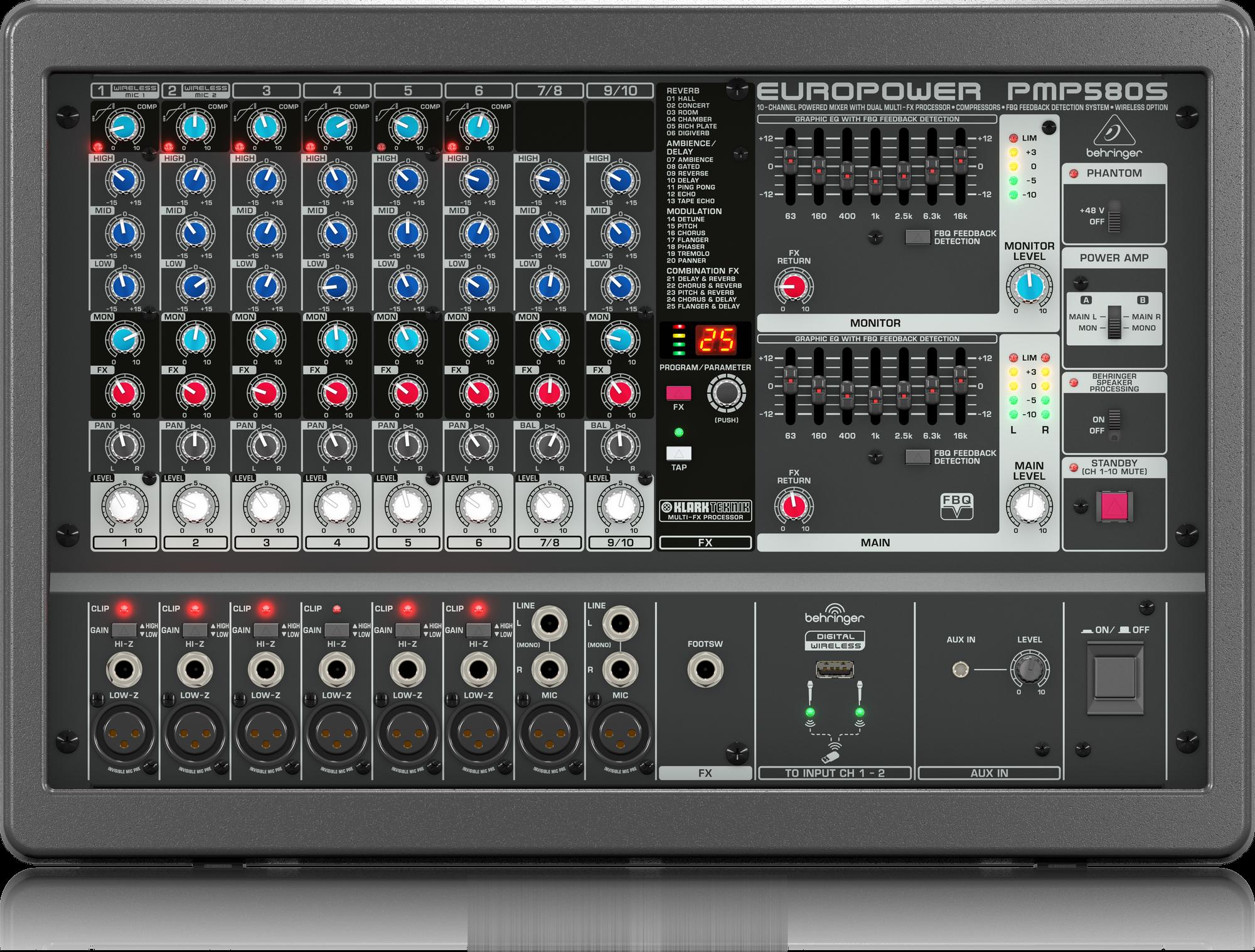 PMP580S Behringer 500W 10-Channel Mixer M-FX