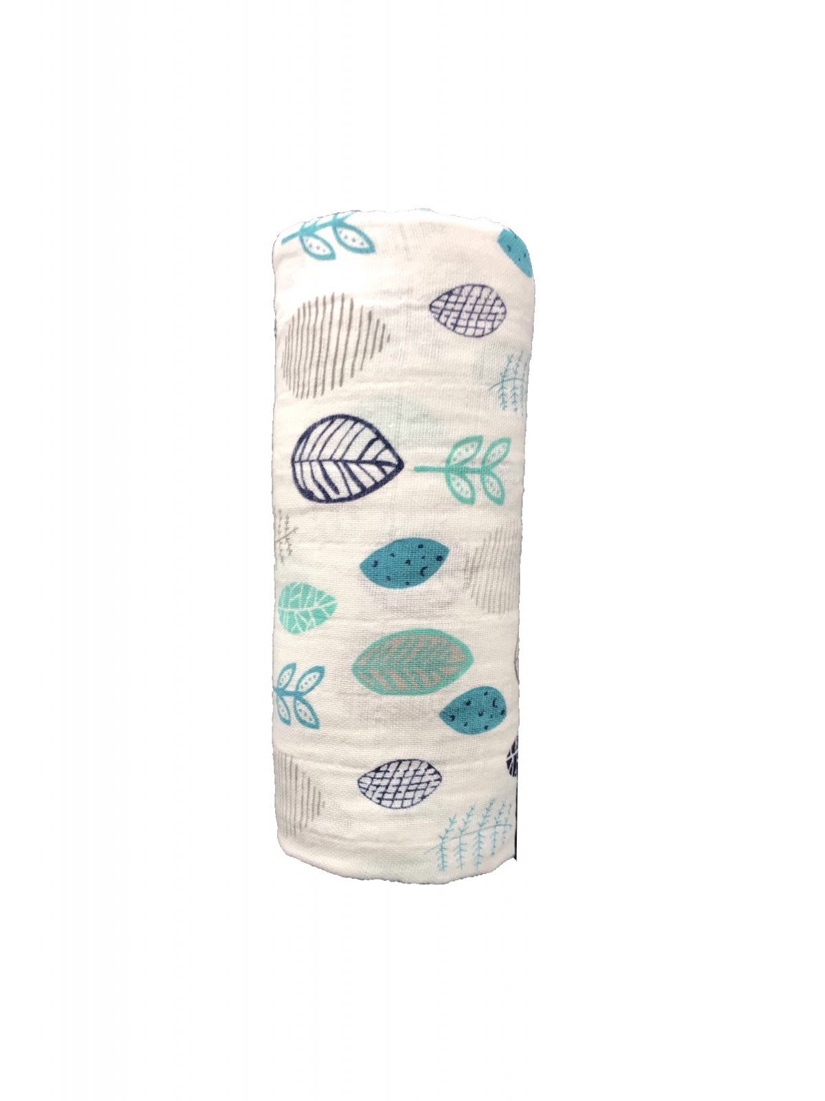 Leaves Teal Navy & Gray Swaddle