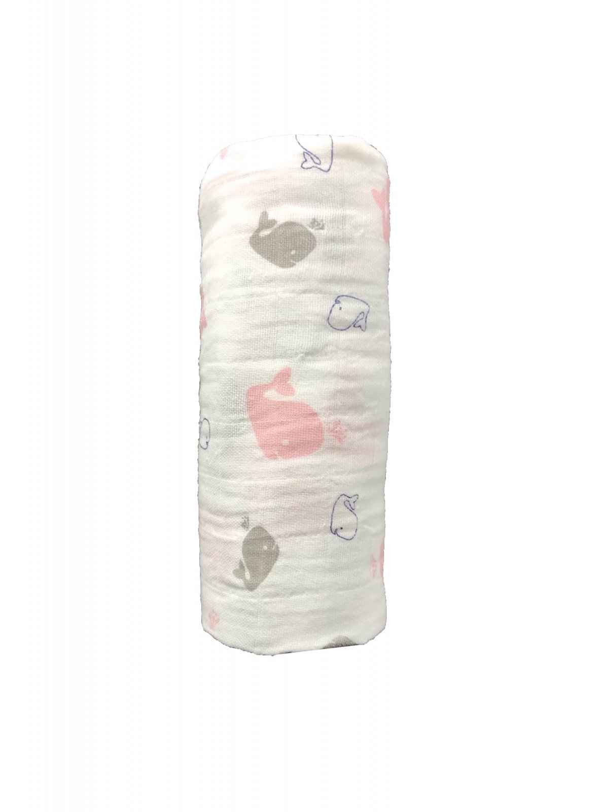 Pink & Gray Whales Swaddle