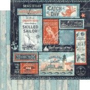 Graphic 45 Catch of the day 12x12 paper in Seas the Sunshine
