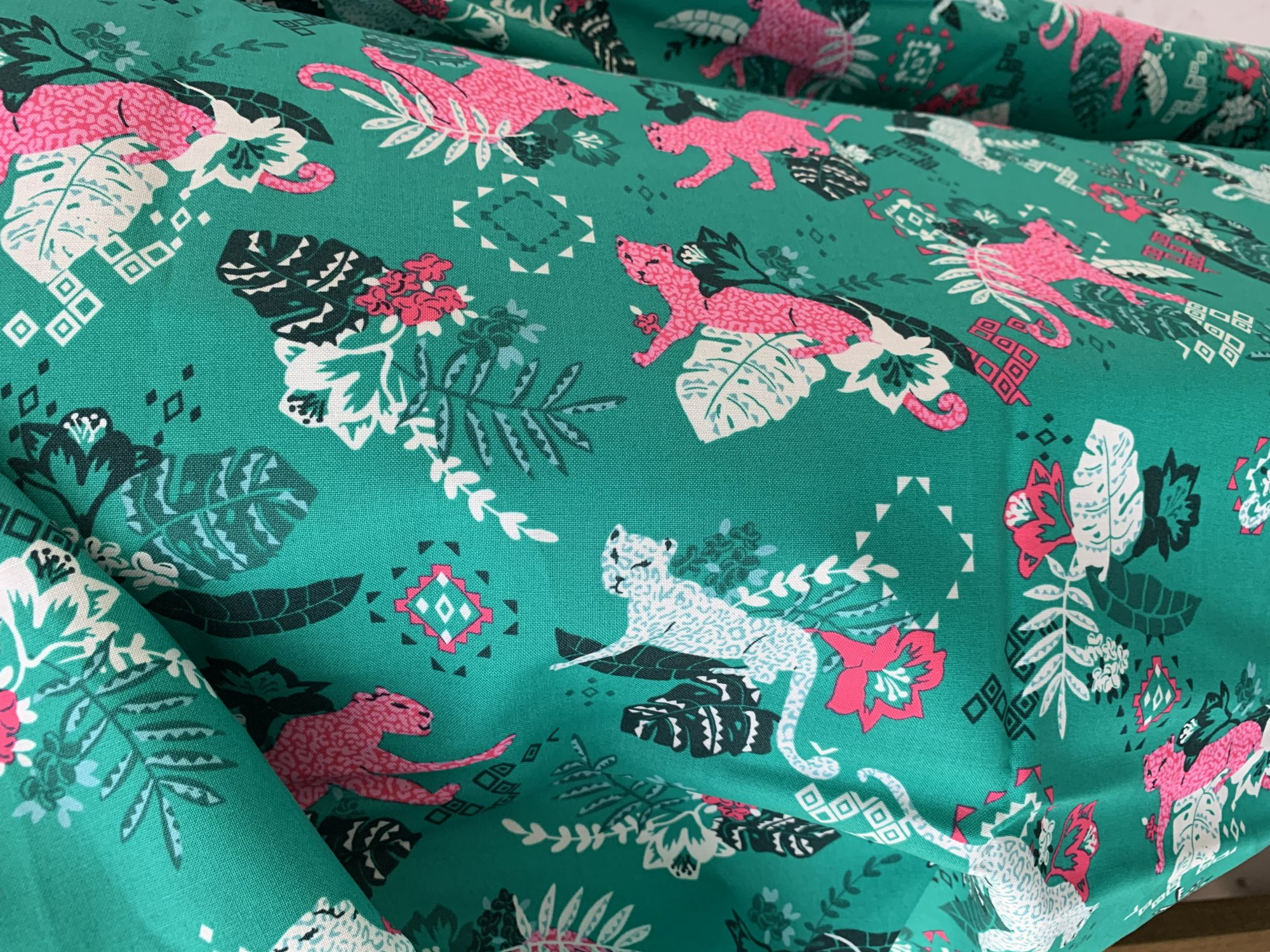 Green and Pink Leopard Fine Cotton Fabric
