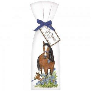 Flour Sack Bluebonnet Horse Towel