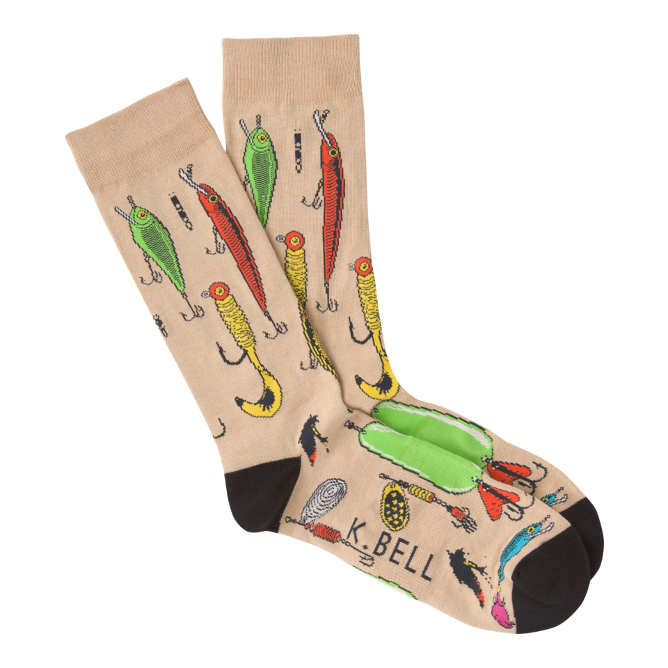 K. Bell Men's Fishing Lure Crew Socks
