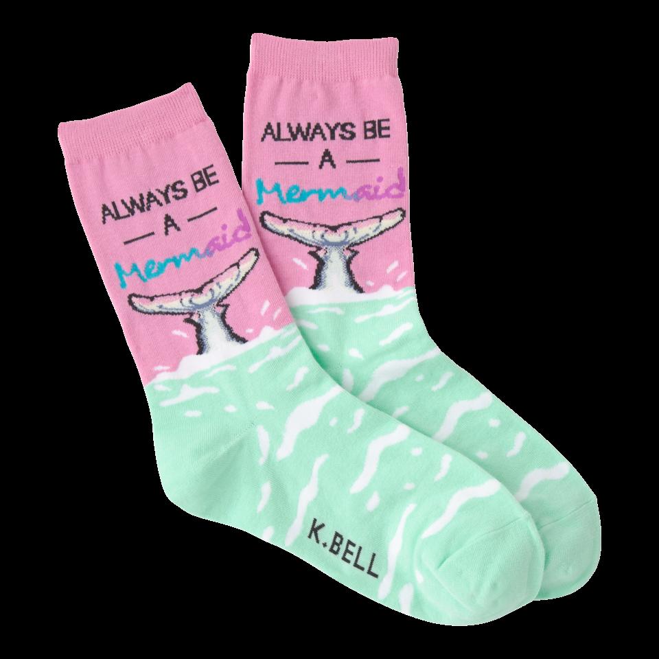 K. Bell Women's Always Be A Mermaid Crew Socks