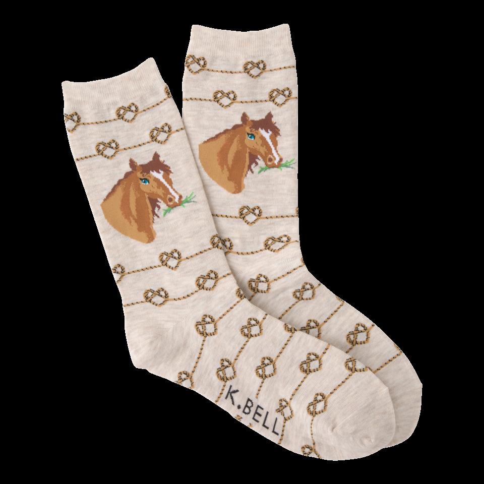 K. Bell Women's Love Knot Horse Crew Socks