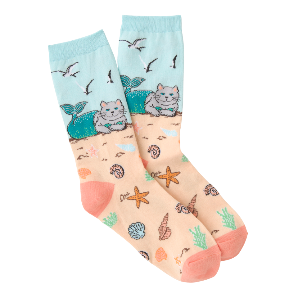 K. Bell Women's Mermaid Cat Crew Socks