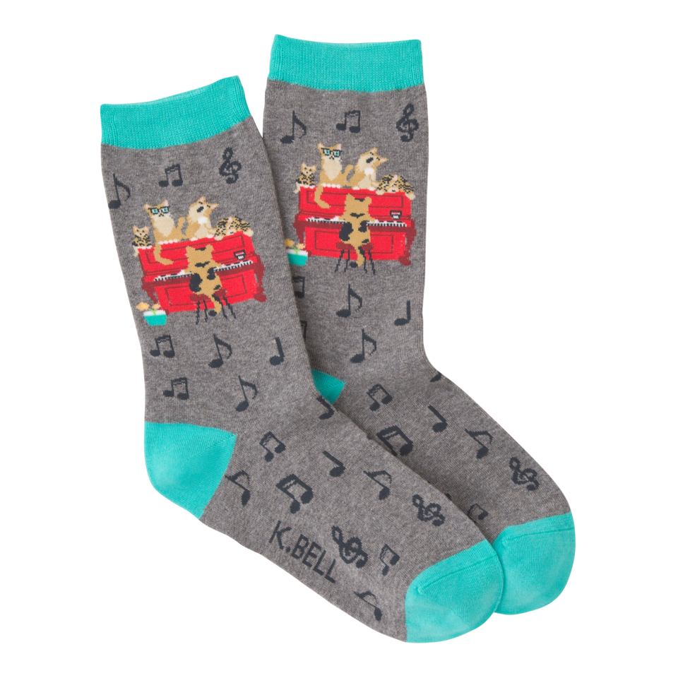 K. Bell Women's Piano Cats Crew Socks