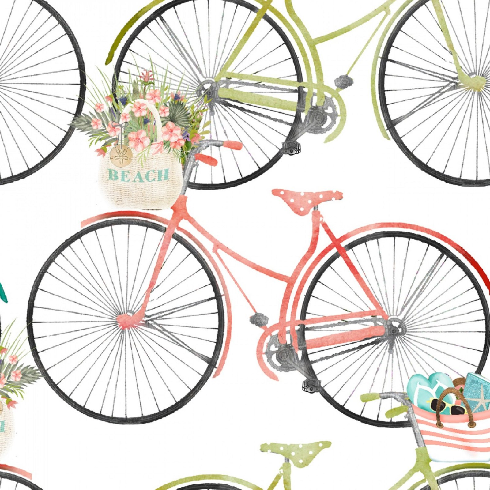 3 Wishes Fabric- White Bicycles By Beth Albert