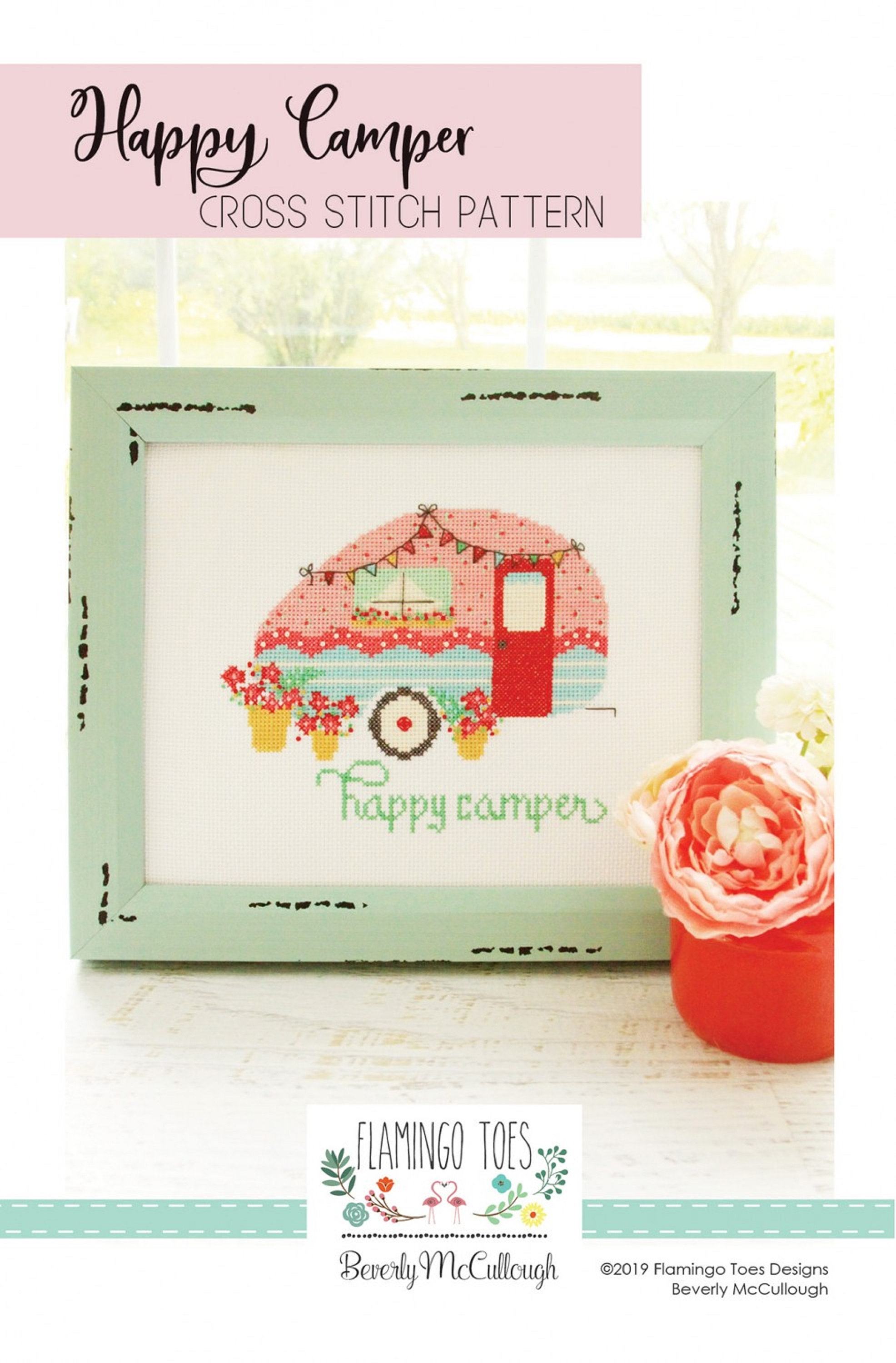 Happy Camper Cross-Stitch Pattern, by Beverly McCullough of Flamingo Toes