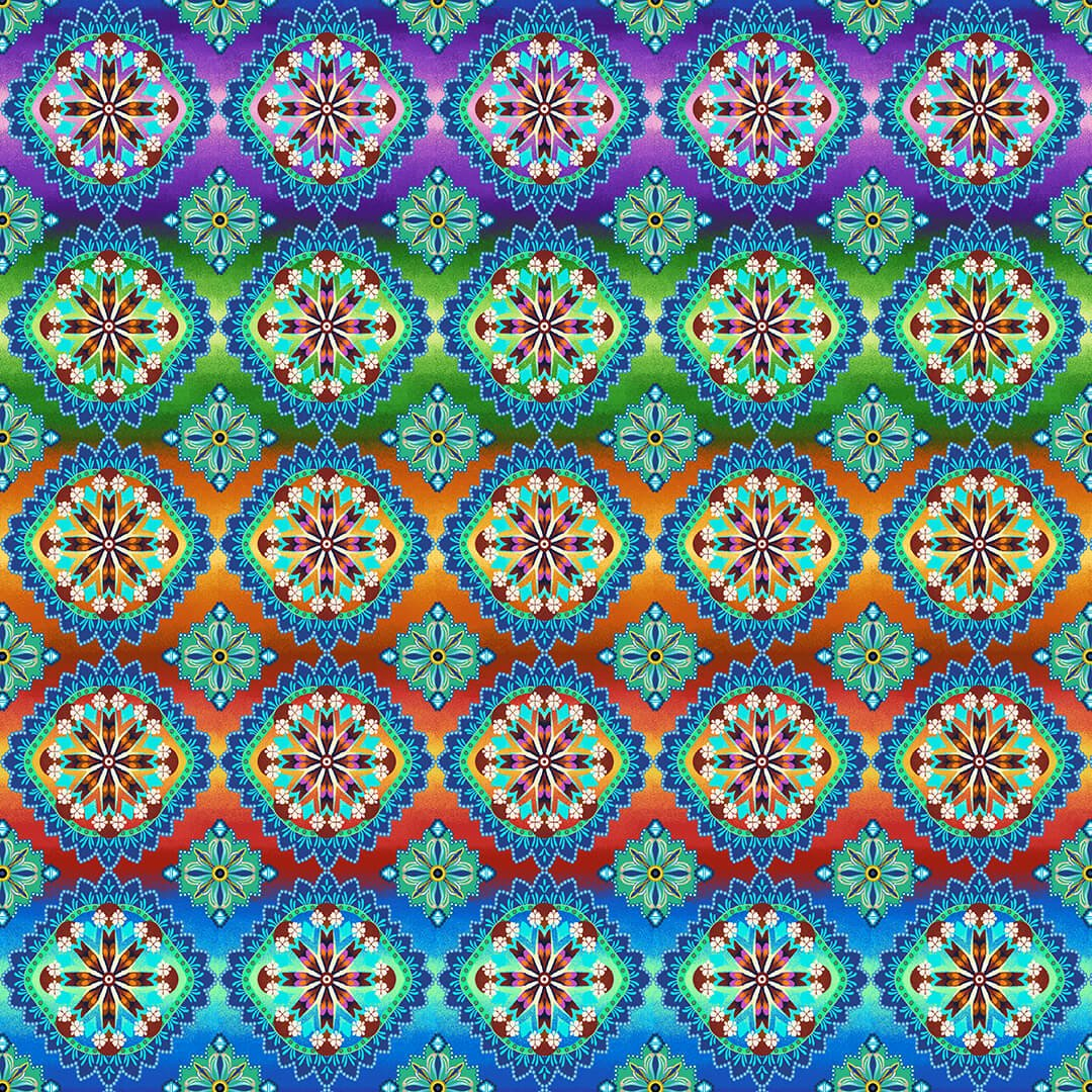 Blooming Paisley Rainbow Multi Hexie Medallion  5603-11