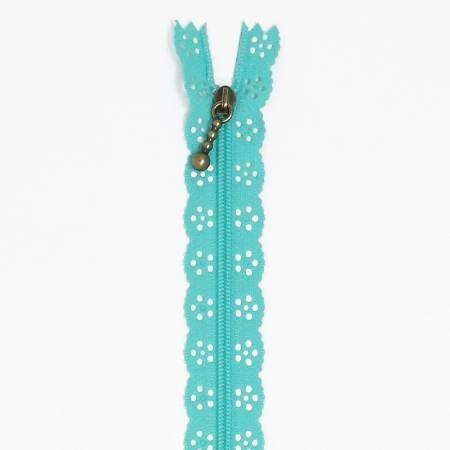 Kimberbellishments 14in Lace Zipper Robins Egg Blue