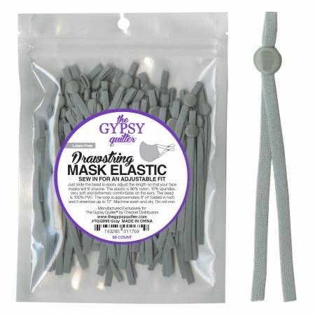 Drawstring Mask Elastic Gray 8in 60ct