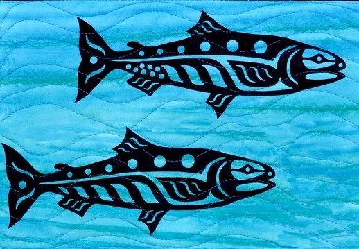 Mini Salmon Pair Laser Applique