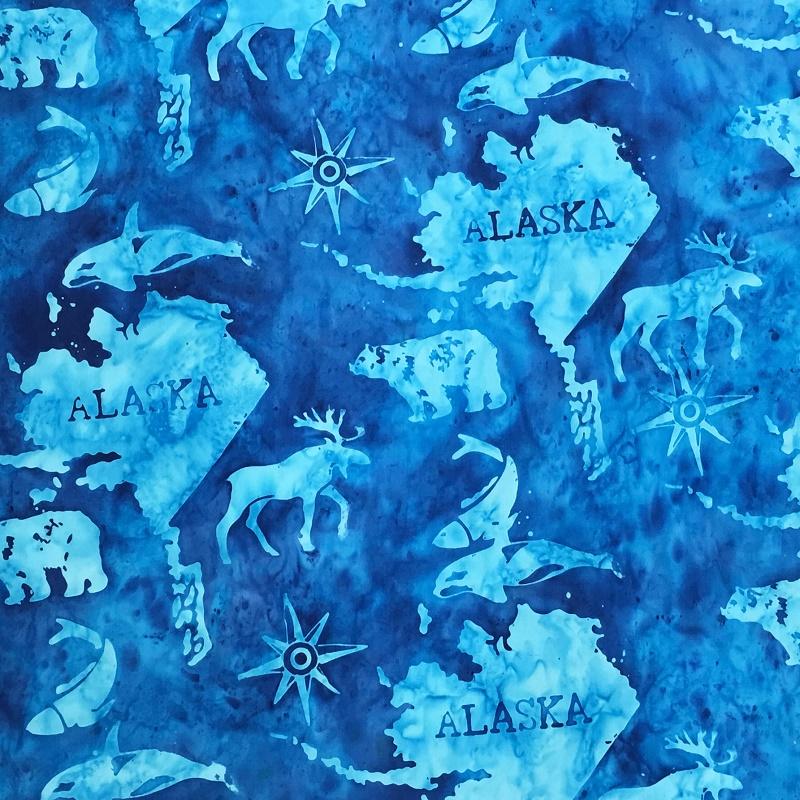 Alaska Map Batik SH45-530 Bluebird