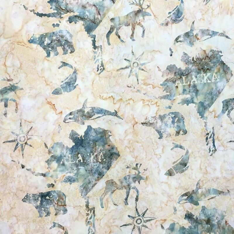 Alaska Map Batik SH45-040 Sahara