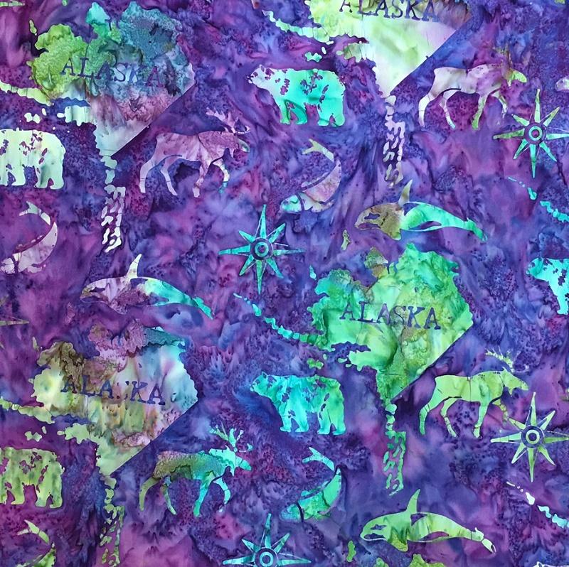 Alaska Map Batik SH45-451 Amethyst