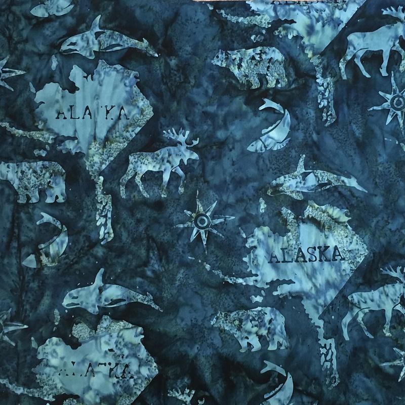 Alaska Map Batik SH45-560 Dark Lagoon