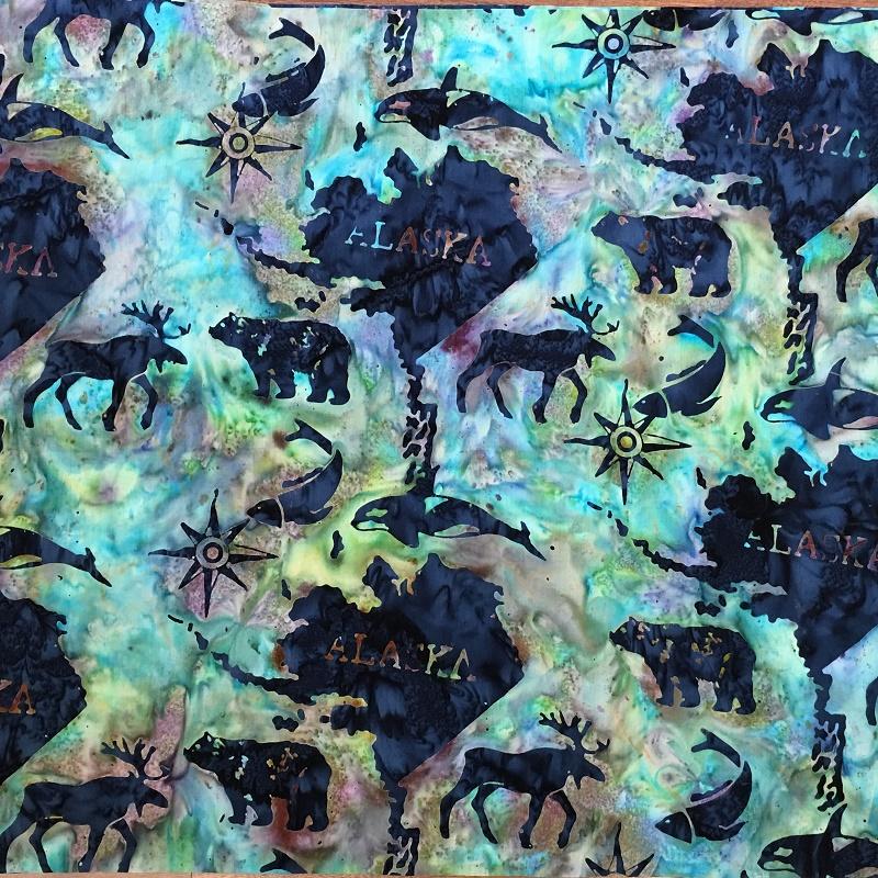 Alaska Map Batik SH45-855 Cool Waters