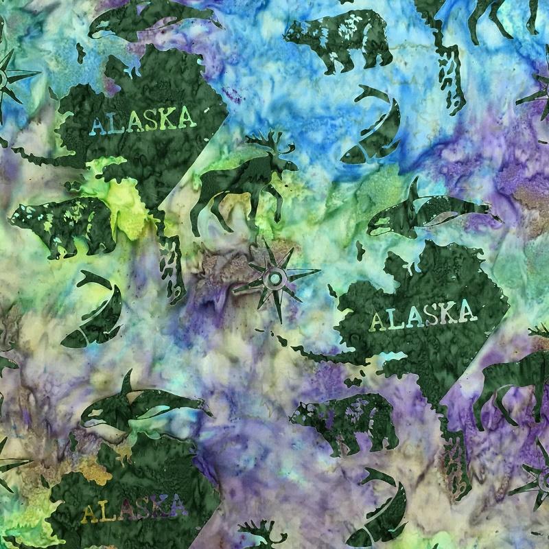 Alaska Map Batik SH45-865 Marbles