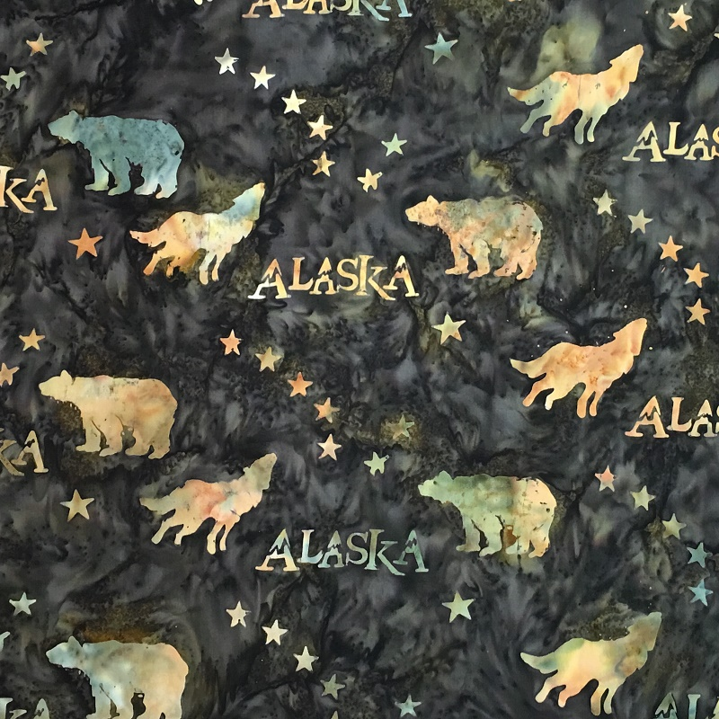 Alaska Flag Stars Wildlife Batik SH43-085 Cappuccino