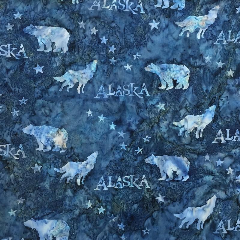 Alaska Flag Stars Wildlife Batik SH43-520 French Blue
