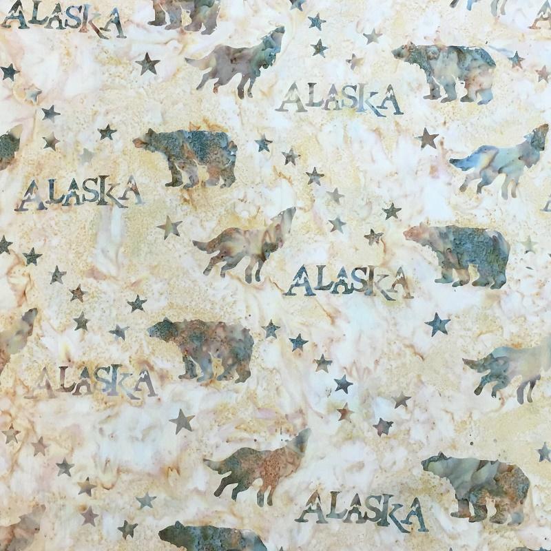 Alaska Flag Stars Wildlife Batik SH43-030 Wheat